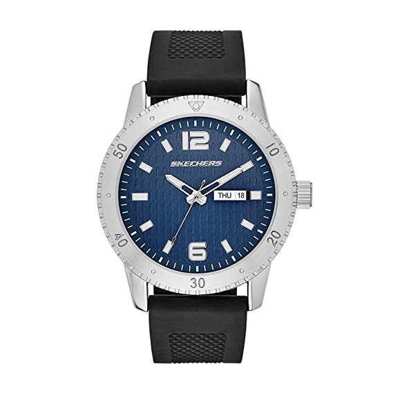 Amazon.com: Skechers Mens Redondo Quartz Metal and Silicone Casual Watch Color: Silver; Black (Model: SR5003): Watches