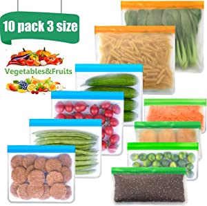 Reusable Food Storage Bags 2 Extra Big Reusable Freezer Bags 4 Big BPA FREE Sandwich Bags 4 Leakproof Silicone Snack Zip lock Bags Eco-friendly Lunch Bag for Food Marinate Meat Fruit Cereal, 10 Pack