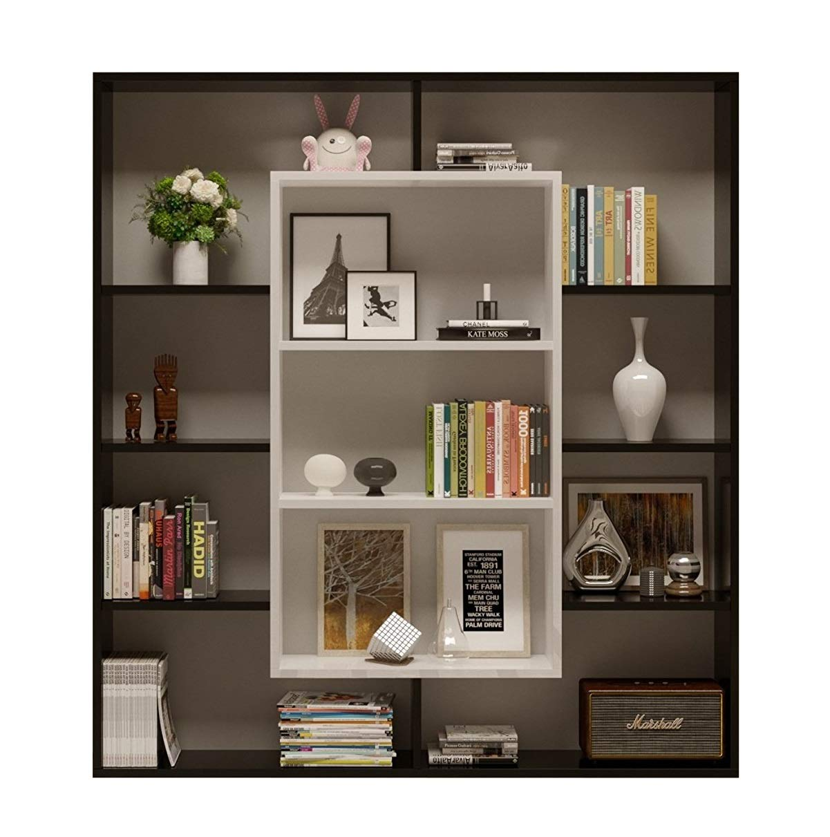 Bookcase Venus - Room Divider - Free Standing Shelving Unit for living room or office in a modern design (White) Homidea