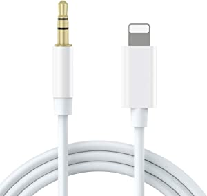 [Apple MFi Certified] Aux Cord for iPhone, Lightning to 3.5mm Aux Cable for Car Compatible with iPhone 11/11 Pro/XS/XR/X 8 7 6/iPad/iPod for Car/Home Stereo/Headphone/Speaker (3.3FT, White)