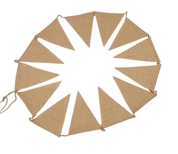 Toruiwa Banderas del triángulo de Yute de Estilo Retro Bandera Colgando guirnaldas del empavesado Arpillera Que cuelga el Ornamento para la decoración del ...