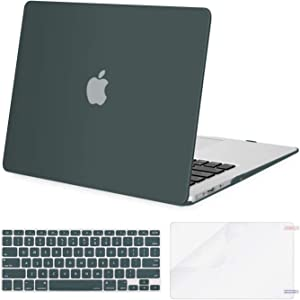 MOSISO Plastic Hard Shell Case & Keyboard Cover Skin & Screen Protector Only Compatible with MacBook Air 11 inch (Models: A1370 & A1465), Midnight Green