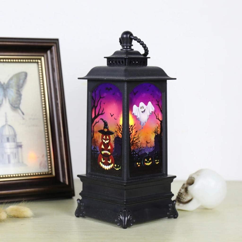 Calabaza Youlin Castillo Linterna Que cuelga de la l/ámpara de la Linterna de la Vendimia Decoraci/ón de la Bruja Calabaza LED de la Vendimia murci/élagos L/ámpara Llama Linterna