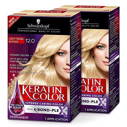 Schwarzkopf Keratin Color Permanent Hair Color Cream, 12.0 Light Pearl Blonde (Pack of 2) (Schwarzkopf Hair Color)