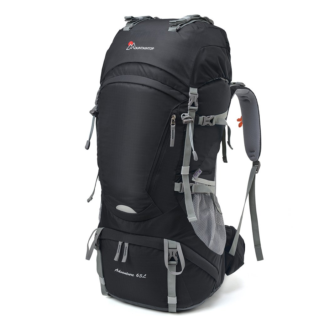 Mountaintop 65L Outdoor Hiking Backpack Camping Backpack Internal Frame Bag, Black by MOUNTAINTOP