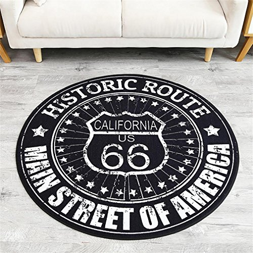 Yanie Carpet, Living Room & Bedroom Multifunction Round Rugs,Nylon Fabric,Black and White,Route 66, 100100cm