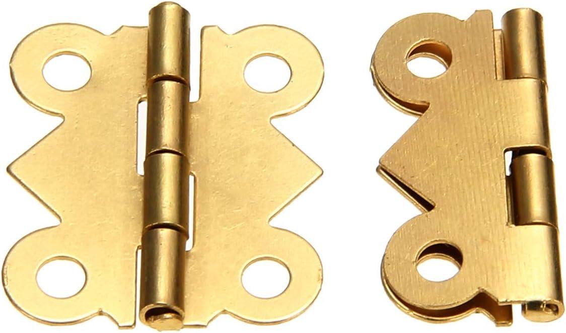 Screws Silent Easy to Replace 10pcs Mini Hinge Cabinet Drawer Door Jewelry Box DIY Hinge Furniture Hardware Tools no!no