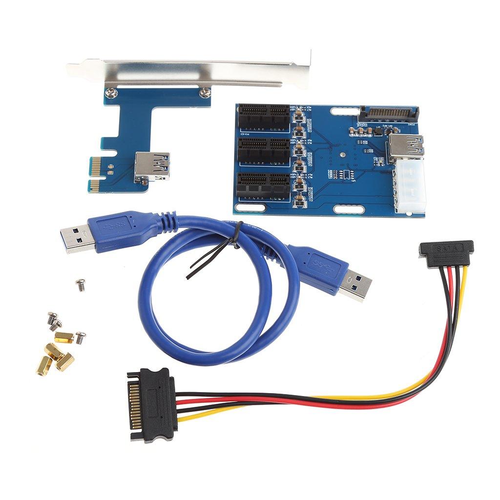 RingBuu 1 Port PCI-E 1X To 3 Slot 1X Switch Multiplier Expander HUB Expansion Riser Card by RingBuu (Image #1)