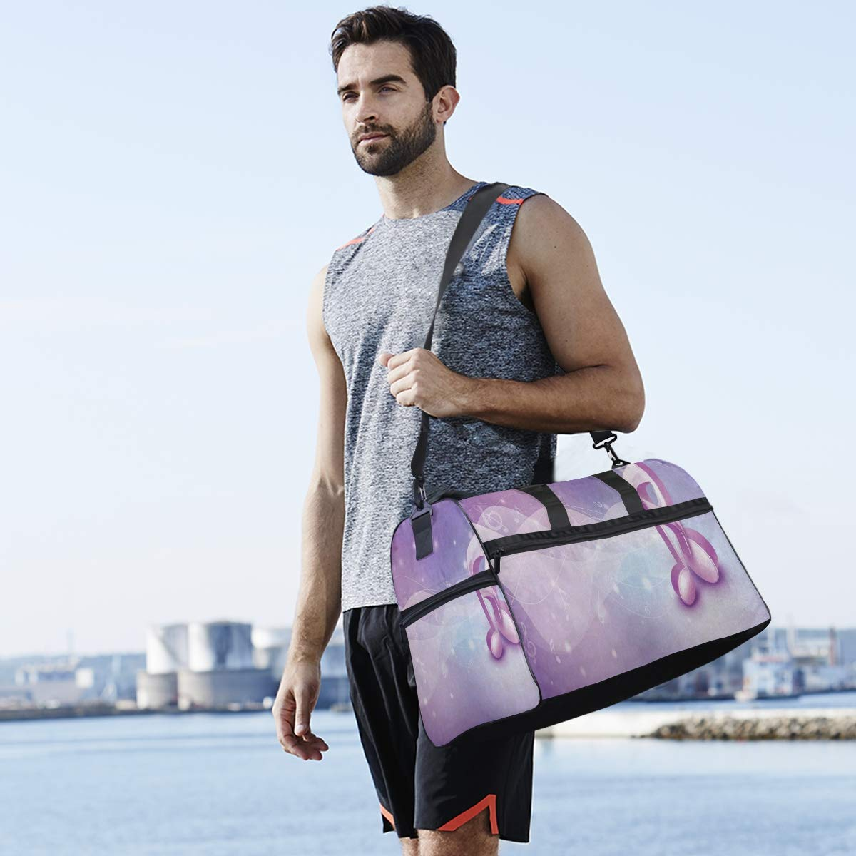 3D Music Note Large Canvas shoulder bag with Shoe Compartment Travel Tote Luggage Weekender Duffle Bag