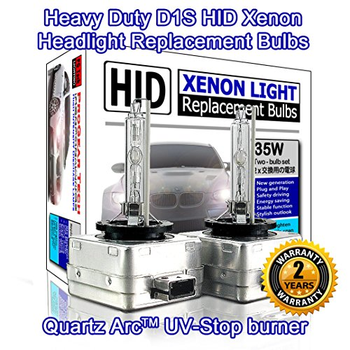 Heavy Duty D1S D1R HID Xenon Headlight Replacement Bulbs 35W High Low Beam (Pack of 2) (6000K Daylight (35w Replacement Bulb)