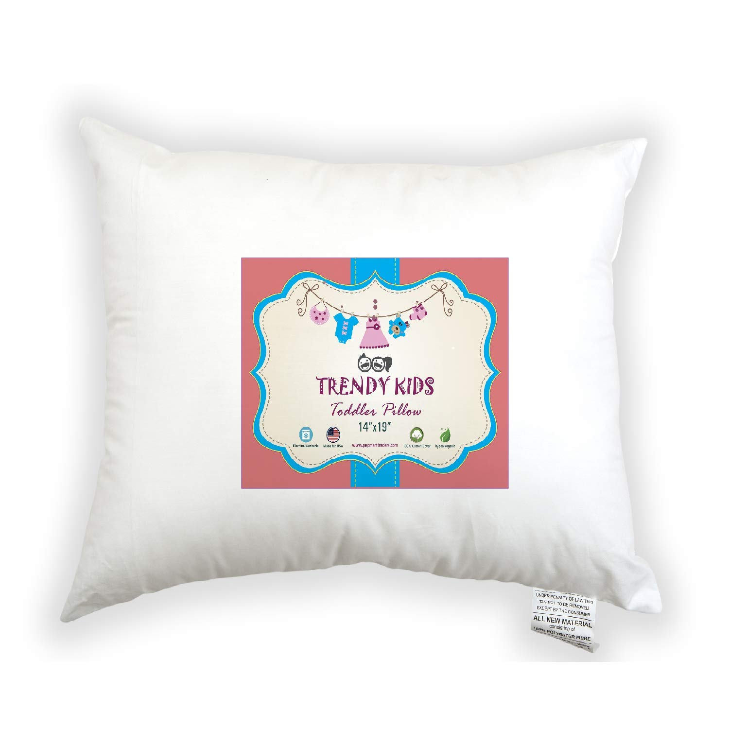 Trendy Kids Toddler Pillow 14x19 100/% Cotton Baby//Toddler//Travel Pillow Percale Machine Washable and Hypoallergenic No Extra Pillowcase//Sham Needed Perfect for Kids Infant
