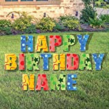Custom Happy Birthday Yard Sign - Happy Birthday Letters Custom Name 26 Short Stakes Plus Short Stakes for Name Included