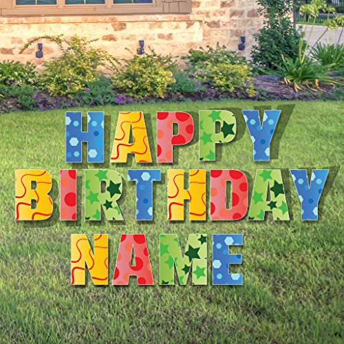 Custom Happy Birthday Yard Sign - Happy Birthday Letters Custom Name 26 Short Stakes Plus Short Stakes for Name Included ()