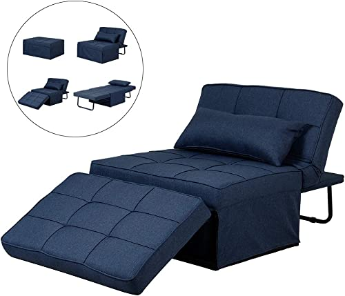 Diophros Folding Ottoman Sleeper Guest Bed, 4 in 1 Multi-Function Adjustable Ottoman Bed Bench Guest Sofa Chair Navy Blue