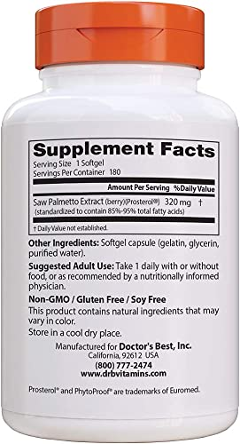 Doctor s Best Saw Palmetto 320 Mg Softgels, 180 Count