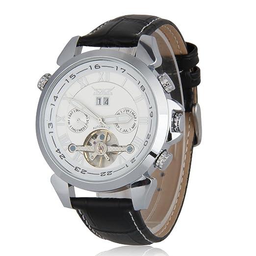 JARAGAR Relojes Mecánicos Automáticos De Hombre (Tourbillon Doble Calendario Reloj Pulsera, Blanco)