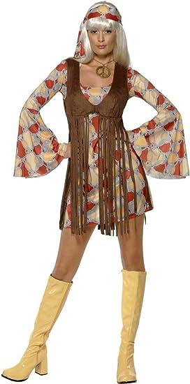 Generique - Disfraz de Hippie años 70 flequillos para Mujer S ...