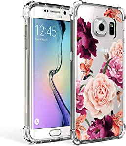 Galaxy S7 Edge Case for Girls Women Clear with Flowers Design Shockproof Protective Cell Phone Cases for Samsung Galaxy S7 Edge 5.5 Inch Cute Floral Pattern Print Flexible Slim Fit Bumper Rubber Cover