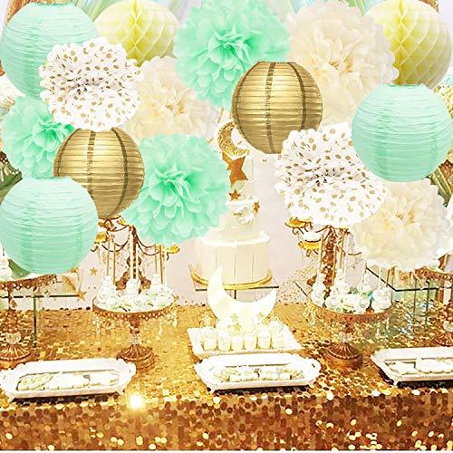 Bridal Shower Decorations Mint Cream Gold Birthday Decoration Tissue Paper Pom Pom Gold Mint Paper Lantern Cream Honeycomb Balls for Mint Gold First Birthday/Baby Shower -