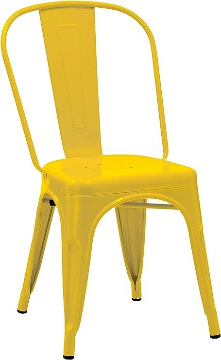Duhome Sedia da Sala da Pranzo in Metallo Ferro con Schienale Stile Vintage impilabile Design Industriale Selezione Colore 666, Colore:Giallo,