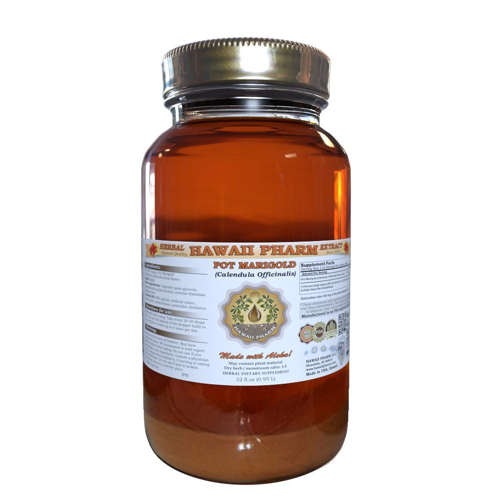 Pot Marigold Liquid Extract, Organic Pot Marigold (Calendula Officinalis) Tincture, Herbal Supplement, Hawaii Pharm, Made in USA, 32 fl.oz