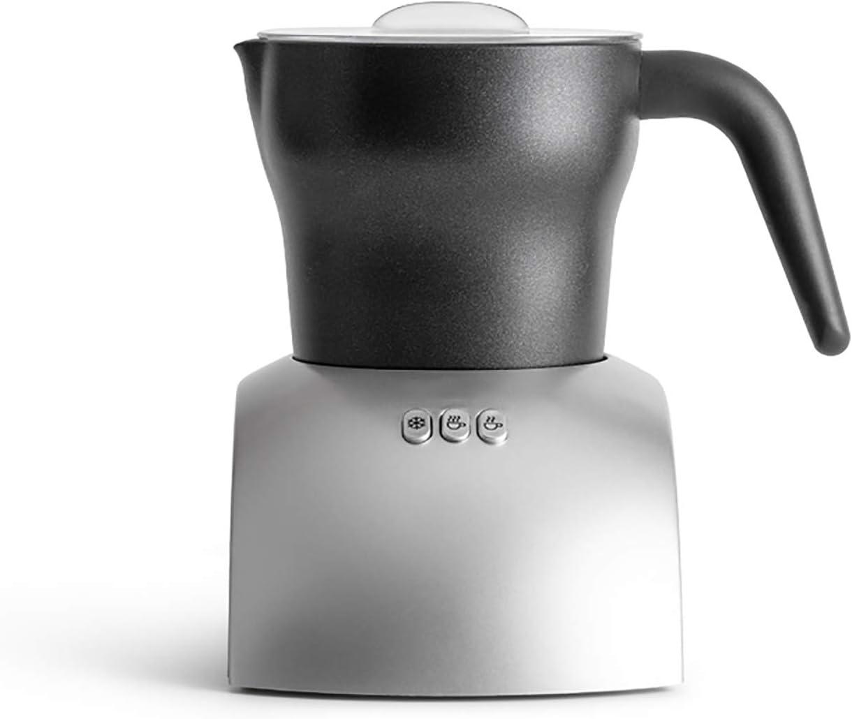 Máquina cocina Espumador leche eléctrico,para hacer espuma fría y caliente Vaporizador leche Calentador y calentador,Espumador café Calentador leche para hacer,Decoración café-Silver