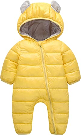 Happy Cherry Baby Toddler One Piece Snowsuit Romper Winter Puffer Jacket Hooded Jumpsuit Down Coat