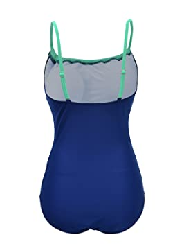 56d5e875ac42d Zando Color Splicing One Piece Swimsuit Plus Size Bathing Suits Frilly  Vintage Tummy Control Swimwear for Women Girls Apple Green 2XL (US 12)  ...