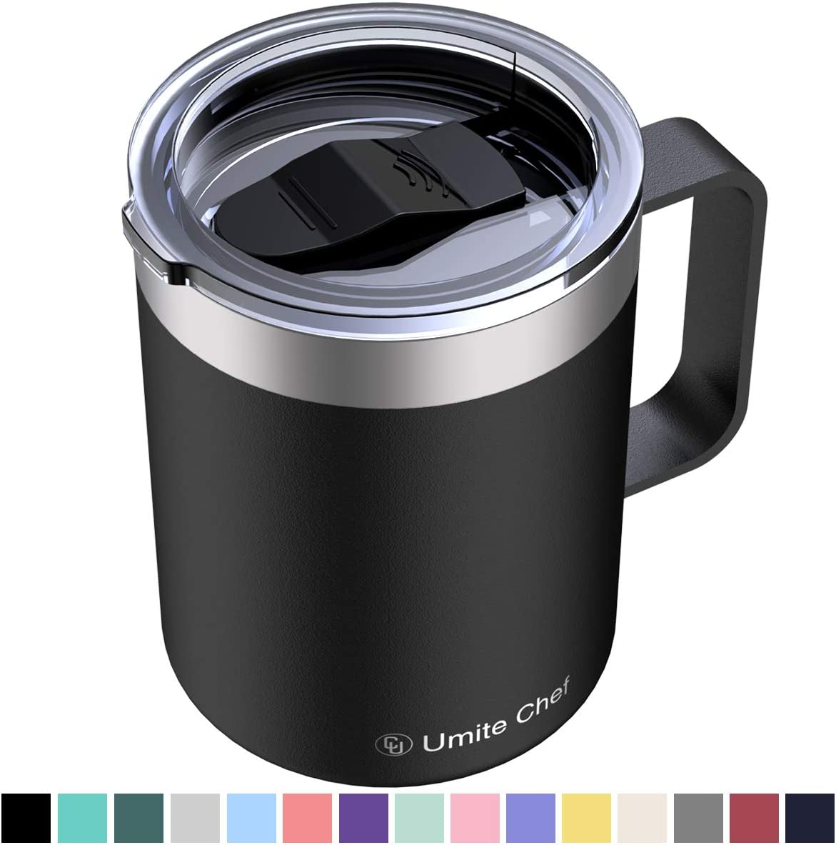 Umite Chef Stainless Steel Insulated Coffee Mug Tumbler with Handle, 12 oz Double Wall Vacuum Tumbler Cup with Lid Insulated Camping Tea Flask for Hot & Cold Drinks(Black)