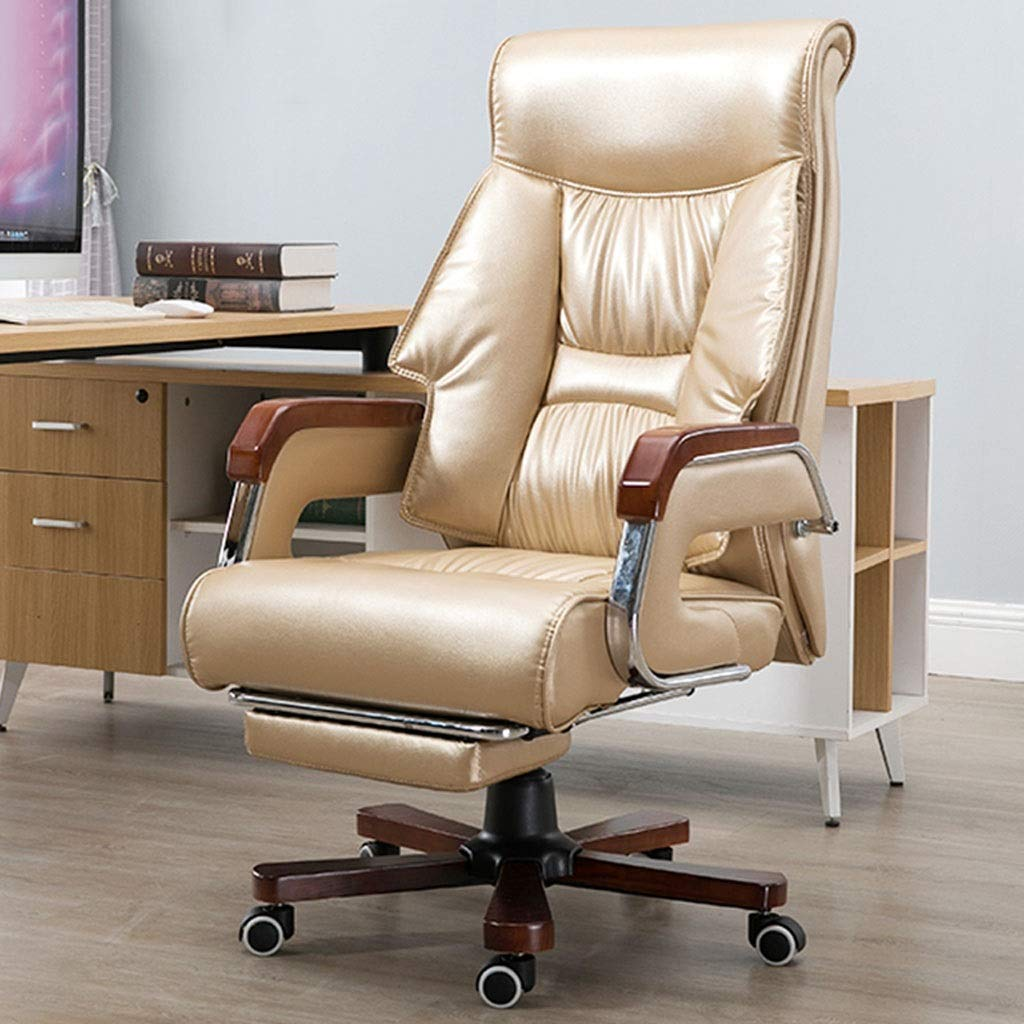 Ace lby roterande kontorsstol, chef kontorsstol, hög rygg PU läderjusterare, extra tjock datorstol, ergonomisk kontorsstol – brun/guld Guld Guld