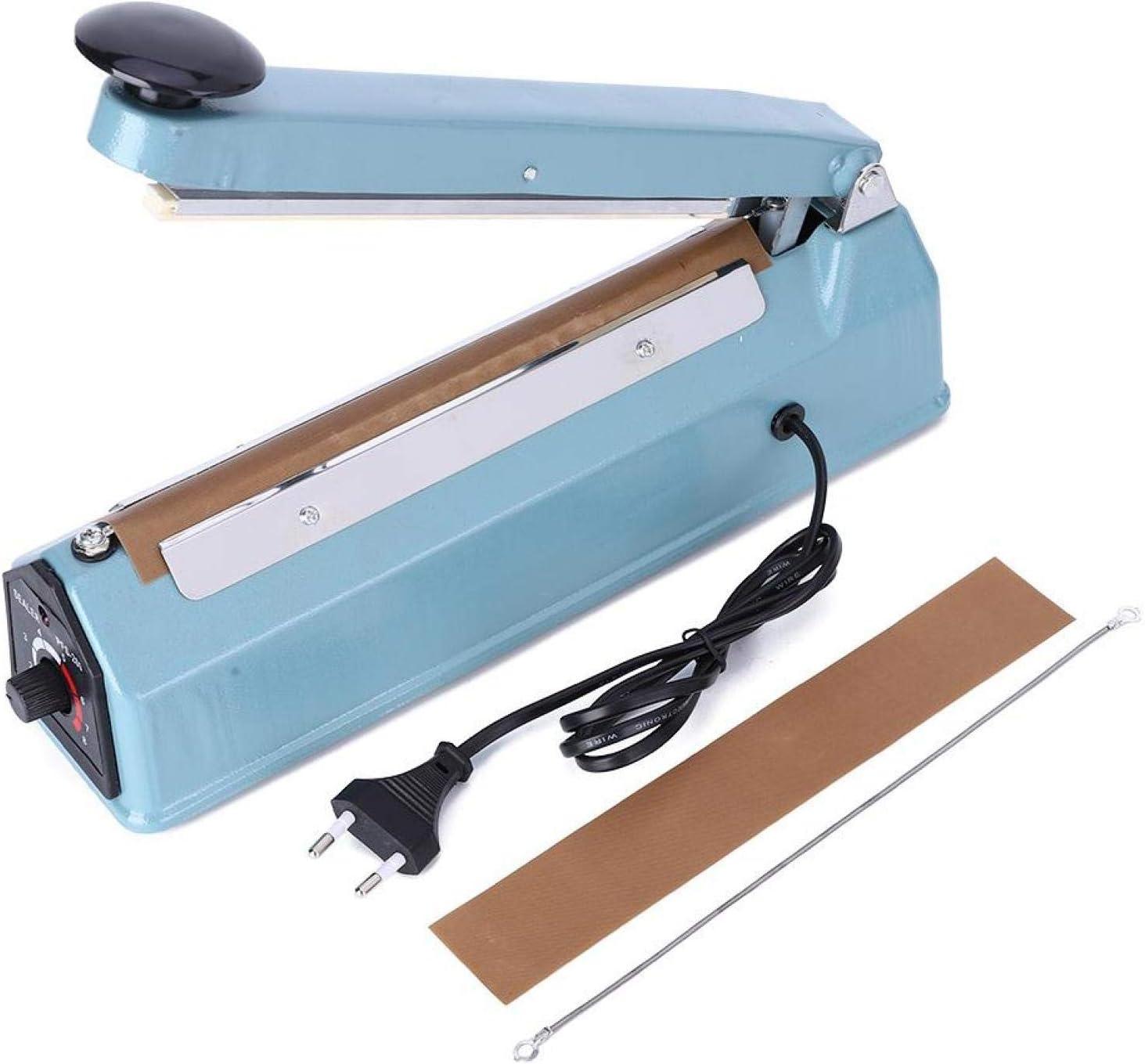 Impulse Sealer Sellador de embalaje ligero manual de 8 pulgadas, máquina de sellado, para películas de PP Bolsas de uso doméstico Uso de almacén(European standard 220V)