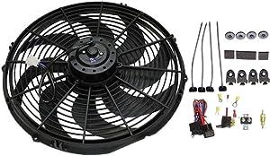 "DEMOTOR PERFORMANCE 16"" Heavy Duty Radiator Electric Fan 3000 CFM Reversible For SBC BBC 350 /Thermostat"