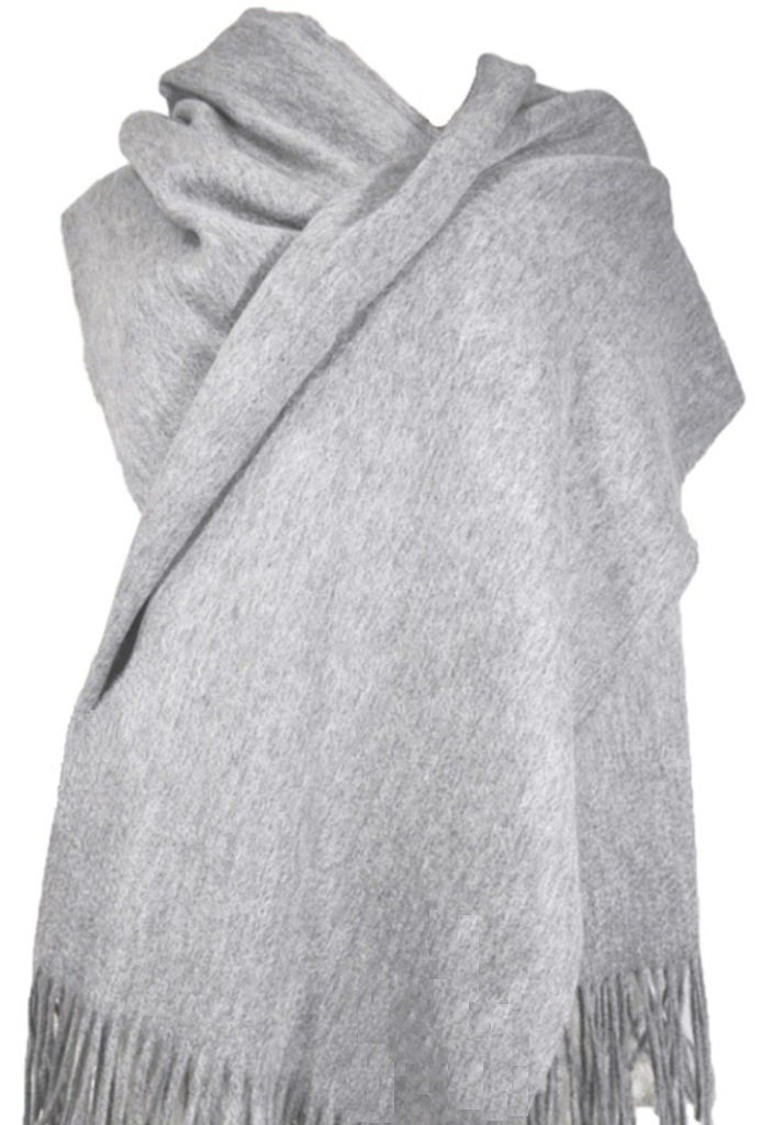 Cashmere Stole, Scarf, Shawl, Wrap, 100% Cashmere, Gorgeous and Natural, Model K0101 (Grey) by MARUYAMA