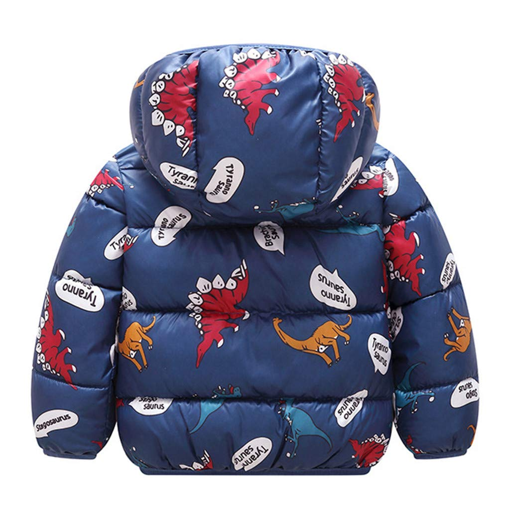 Cappotto di Piumino da Ragazzi Ragazze Invernale Giacca Bambino con Cappuccio Giacca a Vento Caldi Spessi Giacche per Ragazzi Ragazze Cartone Animato Dinosauro Antivento Cappotti 1-5 Anni