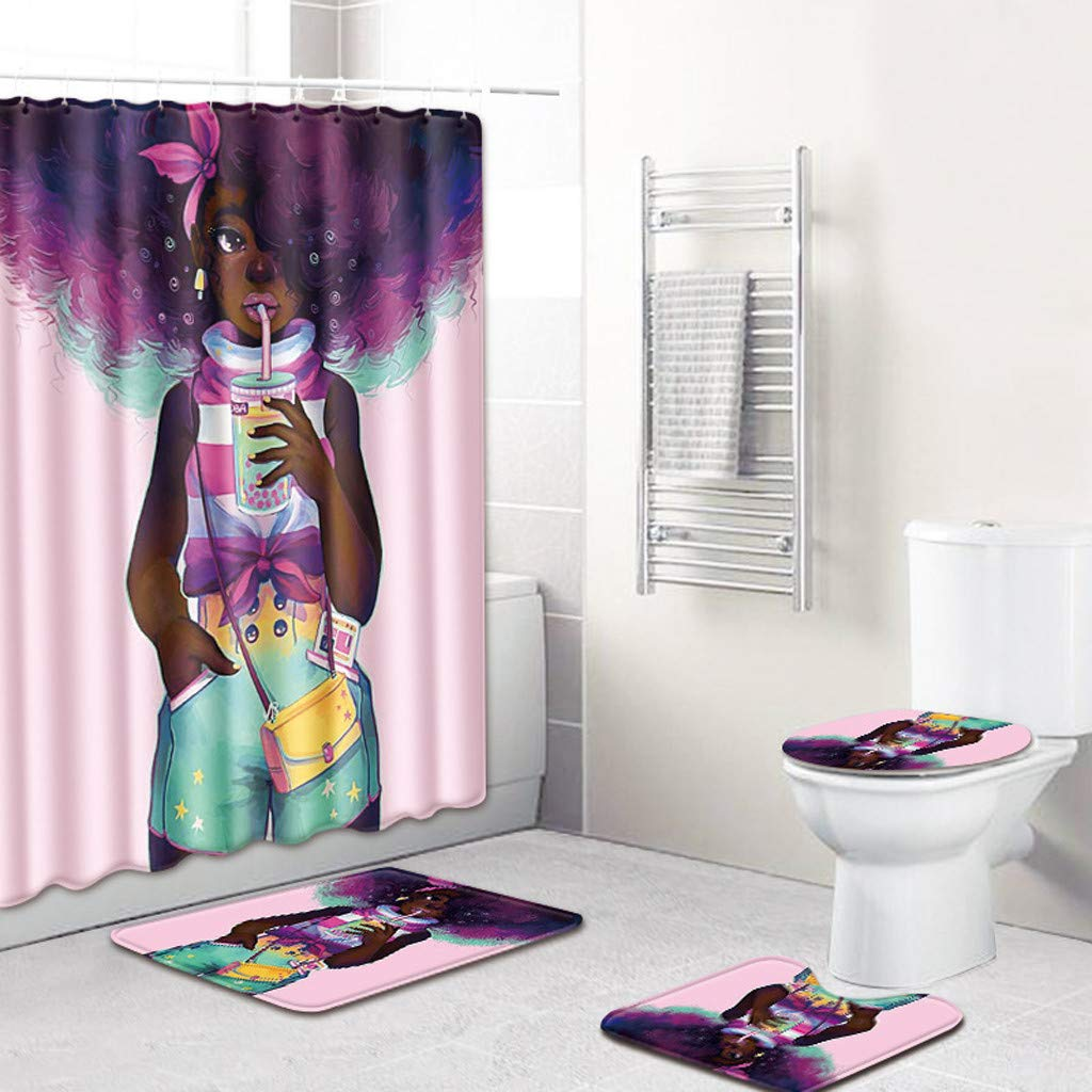 Pooya Shower Curtain Sets Multi Types Home With Non Slip Rugs Toilet Lid Cover And Bath Mat Durable Waterproof Bath Curtain Multicolor E Amazon In Home Kitchen