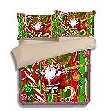 FAITOVE Christmas Santa Claus Microfiber 3pc 104''x90'' Bedding Quilt Duvet Cover Sets 2 Pillow Cases King Size