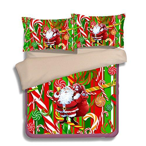 FAITOVE Christmas Santa Claus Microfiber 3pc 104''x90'' Bedding Quilt Duvet Cover Sets 2 Pillow Cases King Size by FAITOVE