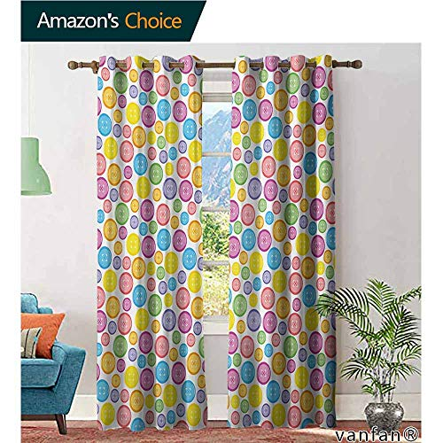 (2 Packs Grommet Curtains,ModernCircular Shaped Buttons Pattern in Various Sizes Artistic Kids Nursery Baby Print,for Living/Bedroom Room/Patio Door,Multicolor,W96 xL108)