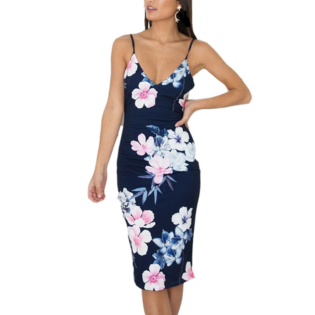 Lananas 2018 Womens Summer V-Neck Backless Elegant Floral High Waist Midi Sleeveless Dress at Amazon Womens Clothing store: