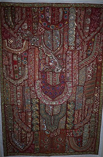 Indian Handmade Embroidered Patchwork Old Hanging Wall Art Vintage Tapestry Old Sari Cutting Wall Hanging (Vintage Tapestry Indian Sari)