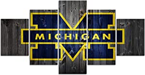 Michigan Wolverines Football Wall Decor Art Paintings 5 Piece Canvas Picture Artwork Living Room Prints Poster Decoration Wooden Framed Ready to Hang(60''Wx32''H)