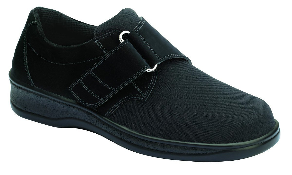 Orthofeet Wichita Women's Comfort Stretchable Orthopedic Orthotic Diabetic Velcro Shoes Black Synthetic 8.5 W US