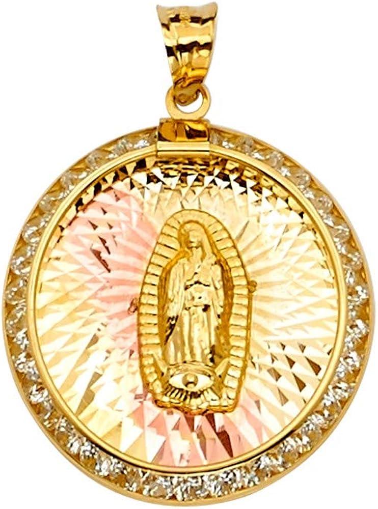GoldenMine 14k Tri Color Gold CZ Guadalupe Medal Pendant Size : 25 x 14 mm