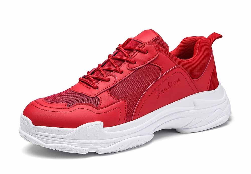 Hombres Respirable Trotar Zapatos 2018 Verano Deportes Grueso Plataforma Aumentado Aptitud Zapatos (Color : Rojo, tamaño : 40) 40|Rojo