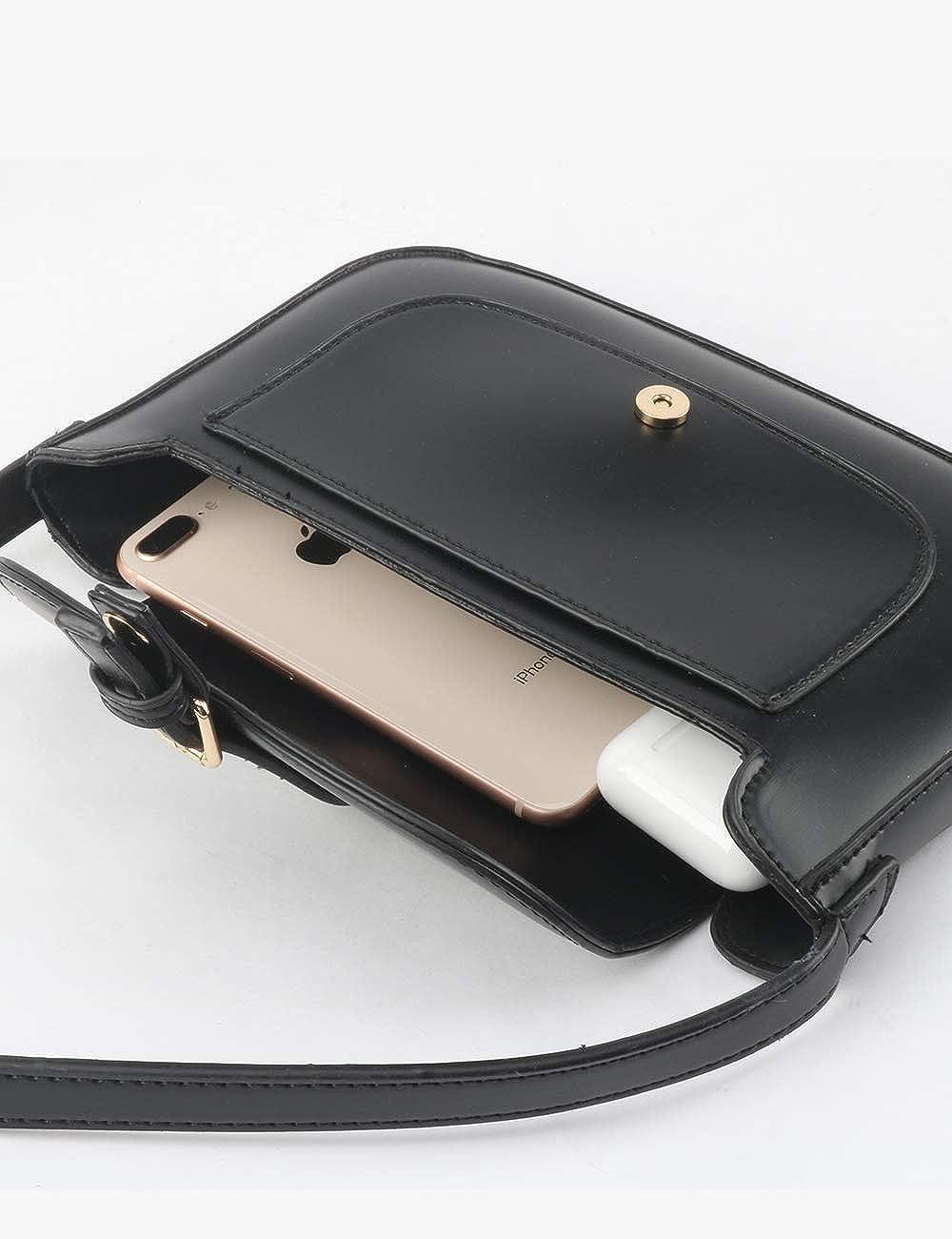 Retro Semi Patent Faux Leather Bag for Women Shoulder Purse Classic Clutch Handbag