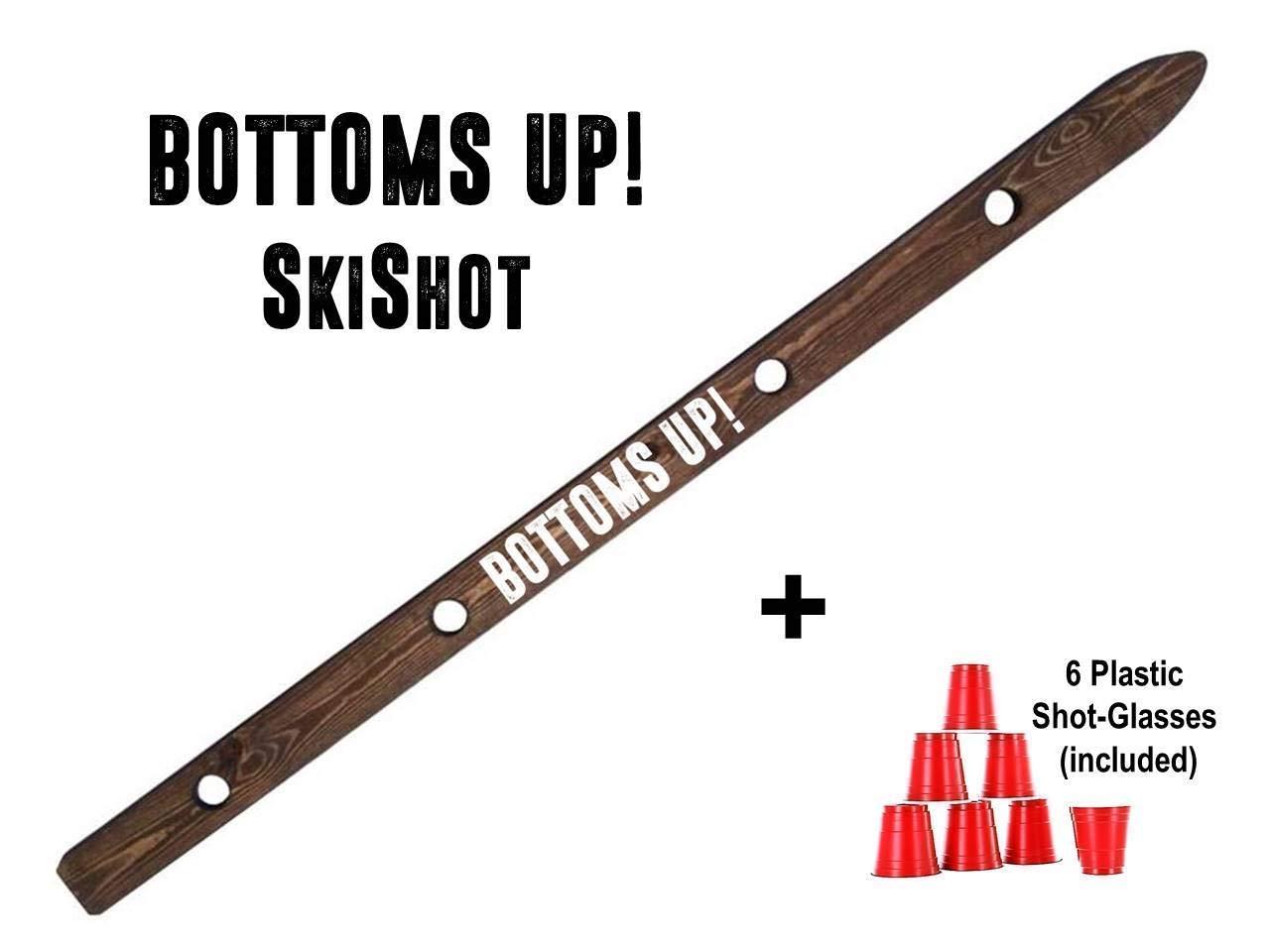 Bottoms Up Shot Board Wooden Ski