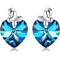 Heart of Ocean Bow Tie Stud Earring Blue Swarovski Crystal Sterling Silver by Richapex