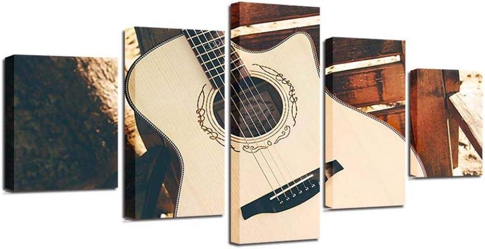 65Tdfc - 5 Piezas Cuadro En Lienzo - Cuerdas De Guitarra Folk - Tejido No Tejido Impresión Artística Gráfica Decoracion De Pared Naturaleza Paisaje 5 Piezas Material