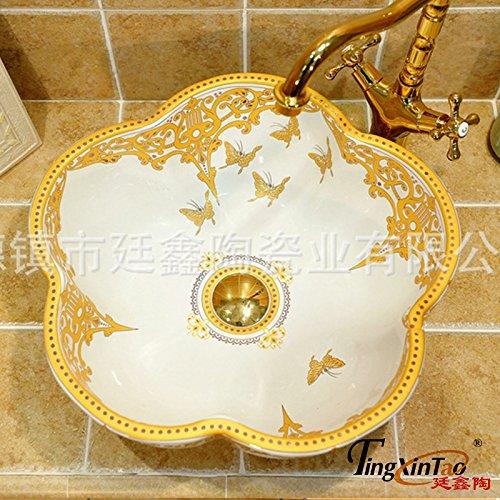 Gehärtetes Glas Badewanne, Waschbecken und Wasserhahn Behälter Mixer Tippen,8.18 Keramik Waschbecken Keramik Waschbecken Gold Schmetterlinge Pflaumenblüten 43*16cm