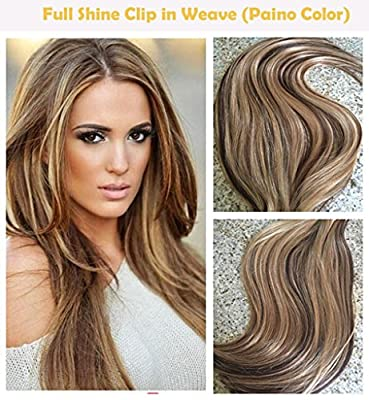 """Full Shine 18"""" 7 Pcs 120 Gram Per Package Ombre Balayage Remy Clip-in Hair Extensions Best Hair Clip On Extensions Human Hair Color 5 Fading to #20 and #24"""